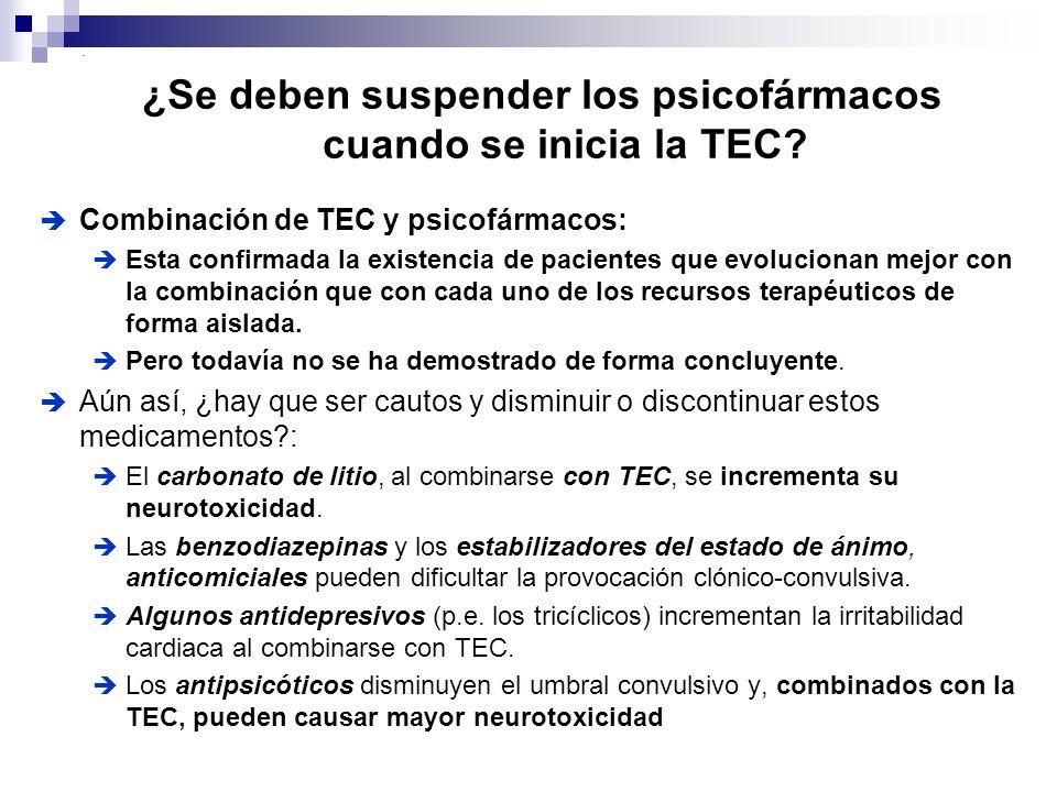 Combinación de TEC y psicofármacos: Esta confirmada la existencia de pacientes que evolucionan mejor con la combinación que con cada uno de los recurs