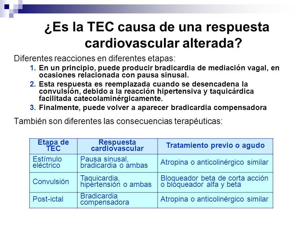 ¿Es la TEC causa de una respuesta cardiovascular alterada? Diferentes reacciones en diferentes etapas: 1.En un principio, puede producir bradicardia d