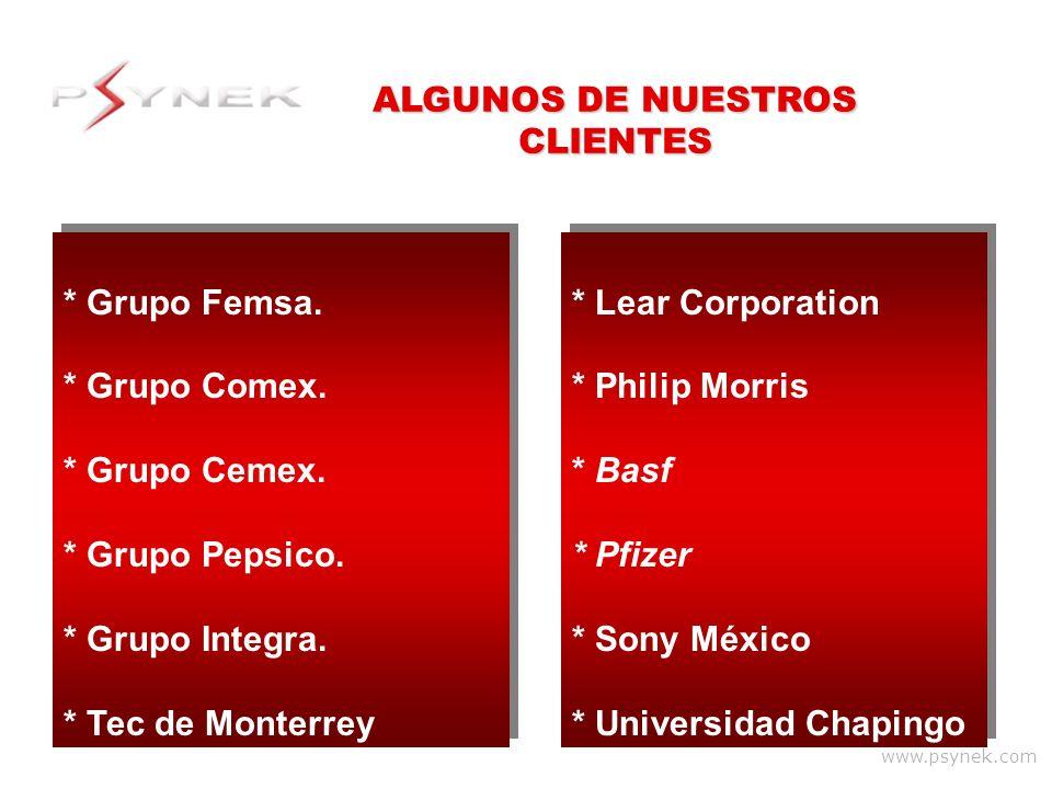 www.psynek.com * Grupo Femsa. * Grupo Comex. * Grupo Cemex. * Grupo Pepsico. * Grupo Integra. * Tec de Monterrey * Grupo Femsa. * Grupo Comex. * Grupo