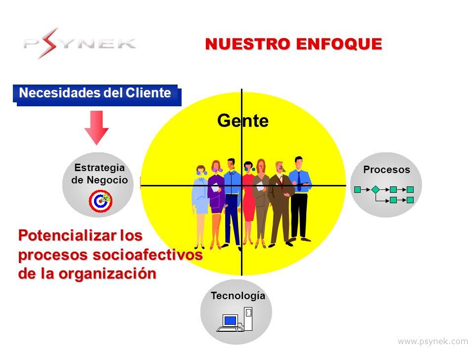 www.psynek.com Procesos Gente Tecnología Estrategia de Negocio Necesidades del Cliente NUESTRO ENFOQUE Gente Potencializar los procesos socioafectivos