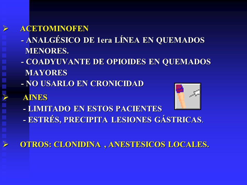 ACETOMINOFEN ACETOMINOFEN - ANALGÉSICO DE 1era LÍNEA EN QUEMADOS - ANALGÉSICO DE 1era LÍNEA EN QUEMADOS MENORES.