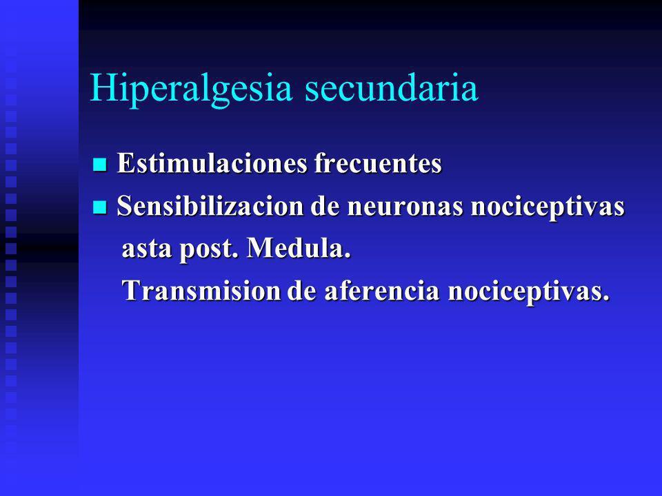 Hiperalgesia secundaria Estimulaciones frecuentes Estimulaciones frecuentes Sensibilizacion de neuronas nociceptivas Sensibilizacion de neuronas nociceptivas asta post.