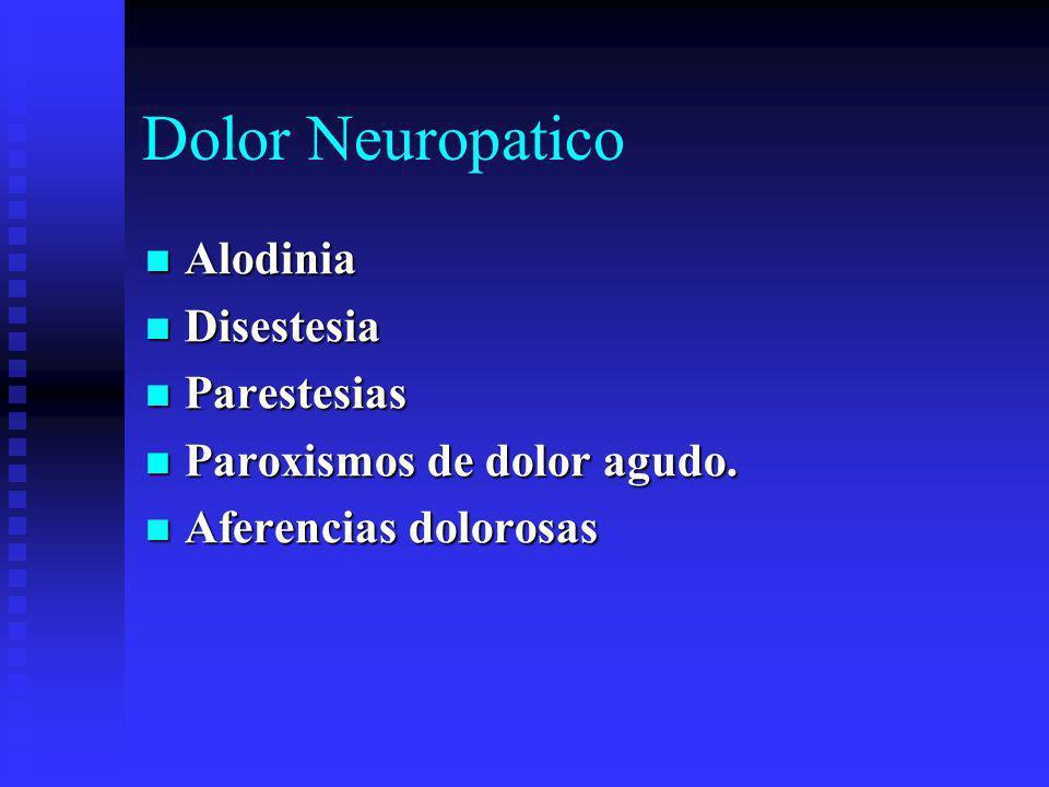 Dolor Neuropatico Alodinia Alodinia Disestesia Disestesia Parestesias Parestesias Paroxismos de dolor agudo.