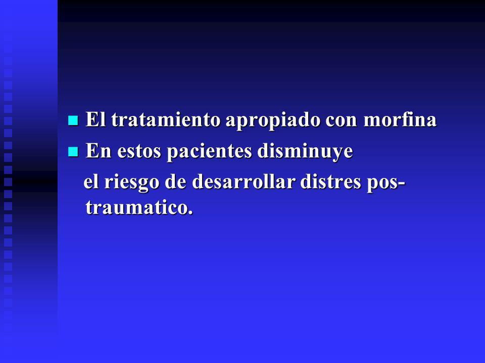 El tratamiento apropiado con morfina El tratamiento apropiado con morfina En estos pacientes disminuye En estos pacientes disminuye el riesgo de desarrollar distres pos- traumatico.
