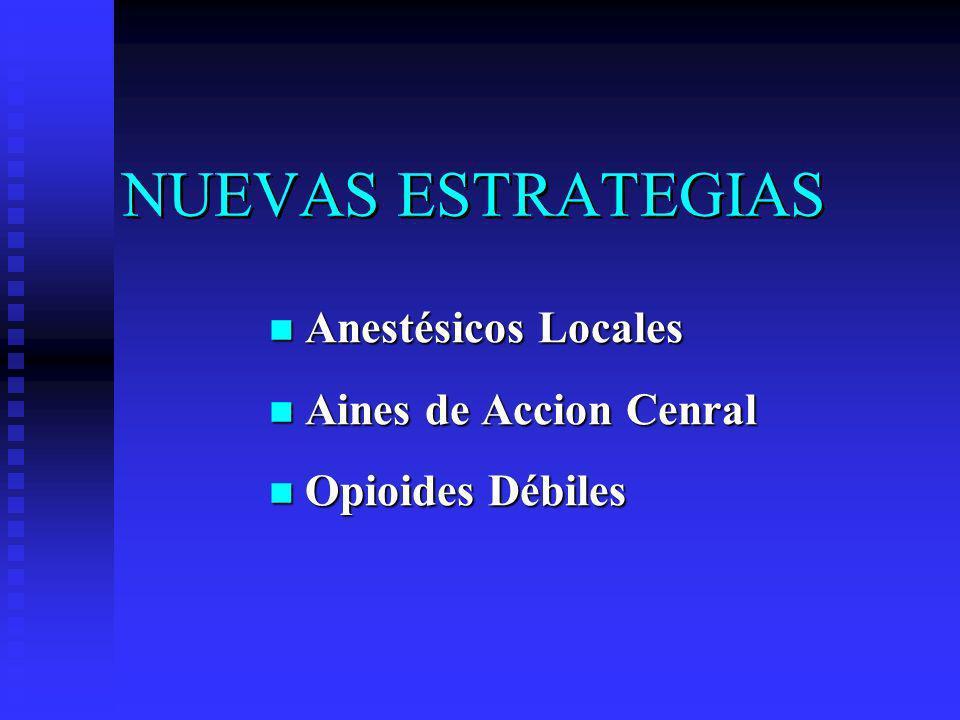 NUEVAS ESTRATEGIAS Anestésicos Locales Anestésicos Locales Aines de Accion Cenral Aines de Accion Cenral Opioides Débiles Opioides Débiles