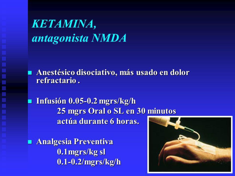 KETAMINA, antagonista NMDA Anestésico disociativo, más usado en dolor refractario.
