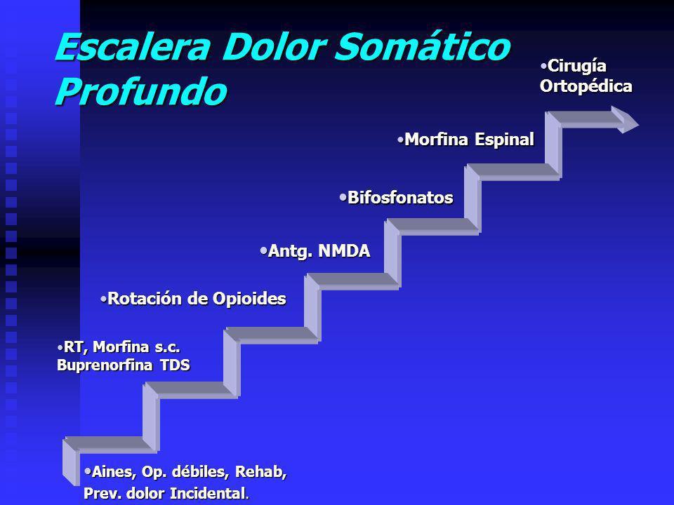 Escalera Dolor Somático Profundo CirugíaCirugíaOrtopédica Morfina EspinalMorfina Espinal Bifosfonatos Bifosfonatos Antg.