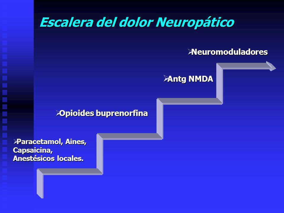 Escalera del dolor Neuropático Neuromoduladores Neuromoduladores Antg NMDA Antg NMDA Opioides buprenorfina Opioides buprenorfina Paracetamol, Aines, Paracetamol, Aines,Capsaicina, Anestésicos locales.