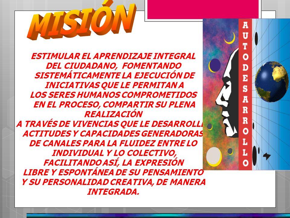 SER RECONOCIDOS COMO EL ELEMENTO DEL CURRICULO UNIVERSITARIO DE LUZ QUE MÁS APORTA A LA FORMACIÓN INTEGRAL DE LOS ESTUDIANTES UNIVERSITARIOS, GRACIAS AL ESFUERZO Y DEDICACIÓN DE CADA UNA DE LAS PERSONAS INVOLUCRADAS EN EL PROCESO, DEFINIDO POR CADA UNA DE LAS SUB-ÁREAS Y SUS CORRESPONDIENTES ACTIVIDADES.
