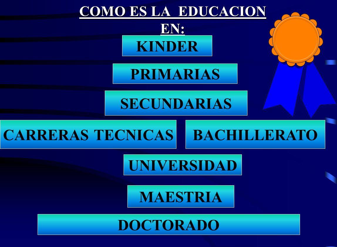 COMO ES LA EDUCACION EN: KINDER PRIMARIAS SECUNDARIAS BACHILLERATO MAESTRIA UNIVERSIDAD CARRERAS TECNICAS DOCTORADO