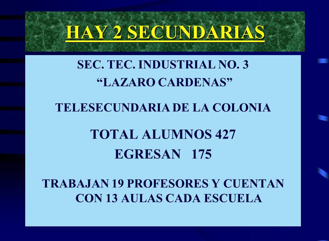 HAY 2 SECUNDARIAS SEC.TEC. INDUSTRIAL NO.