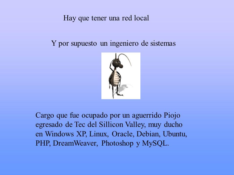 Hay que tener una red local Cargo que fue ocupado por un aguerrido Piojo egresado de Tec del Sillicon Valley, muy ducho en Windows XP, Linux, Oracle,