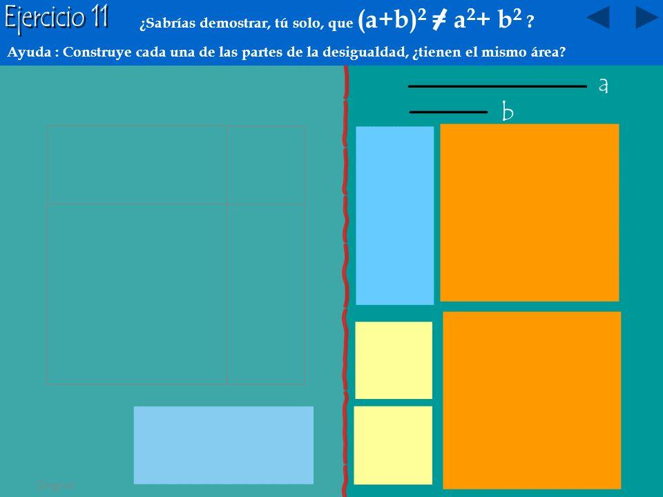 a b a2a2 (a+b)·(a-b) = a 2 _ b2b2 b2b2 Tenemos dos números reales positivos ( ) a y b: a – b a b b a 2 - b 2 (a+b)·(a-b) a+b