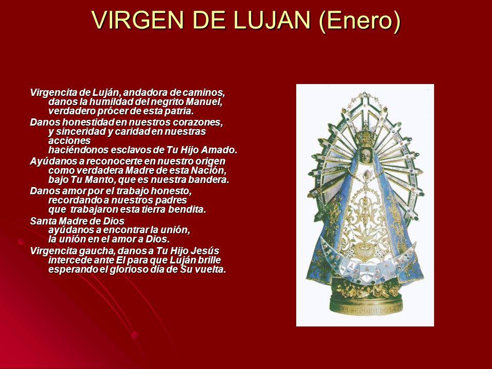 VIRGEN DE LUJAN (Enero) Virgencita de Luján, andadora de caminos, danos la humildad del negrito Manuel, verdadero prócer de esta patria. Virgencita de