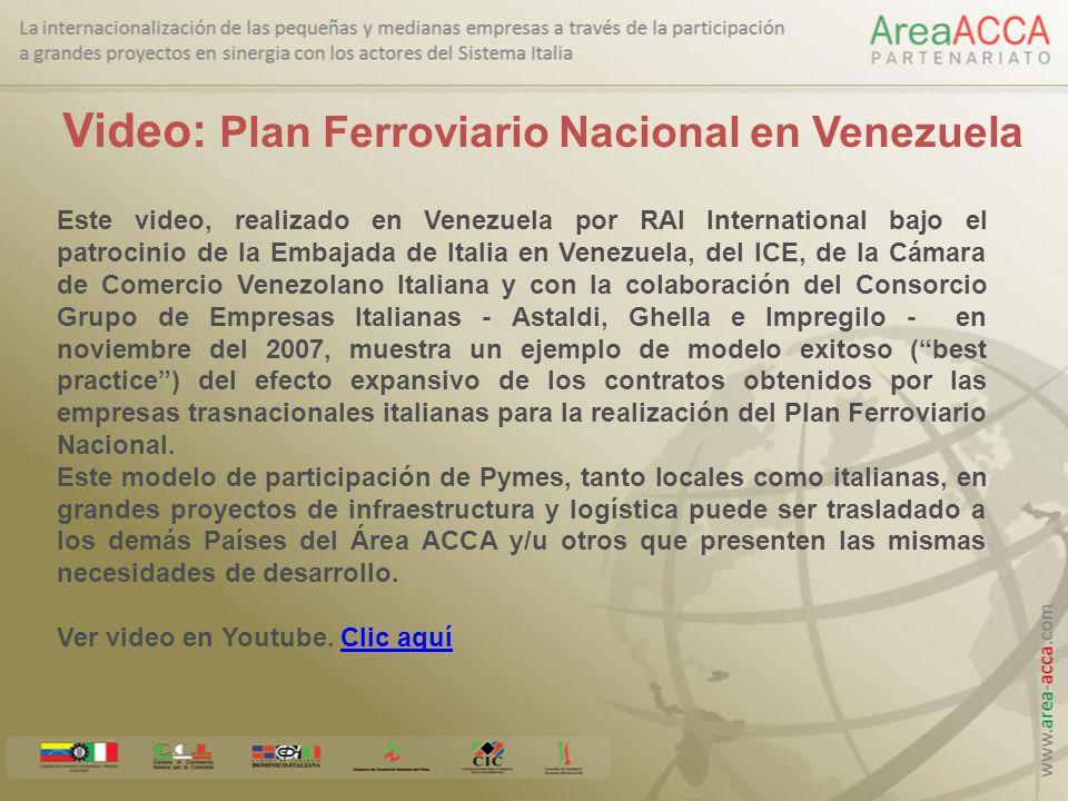 Venezuela – Plan Ferroviario Nacional Proyectos Asignados al Sistema Italia