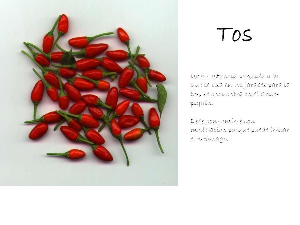 Tos Una sustancia parecida a la que se usa en los jarabes para la tos, se encuentra en el Chile- piquín. Debe consumirse con moderación porque puede i