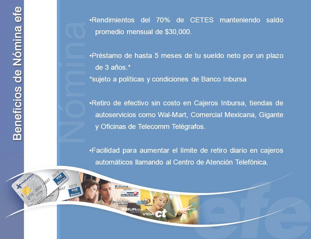 Rendimientos del 70% de CETES manteniendo saldo promedio mensual de $30,000.