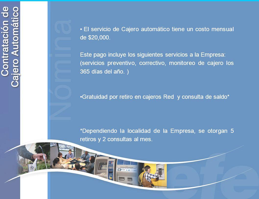 El servicio de Cajero automático tiene un costo mensual de $20,000. Este pago incluye los siguientes servicios a la Empresa: (servicios preventivo, co
