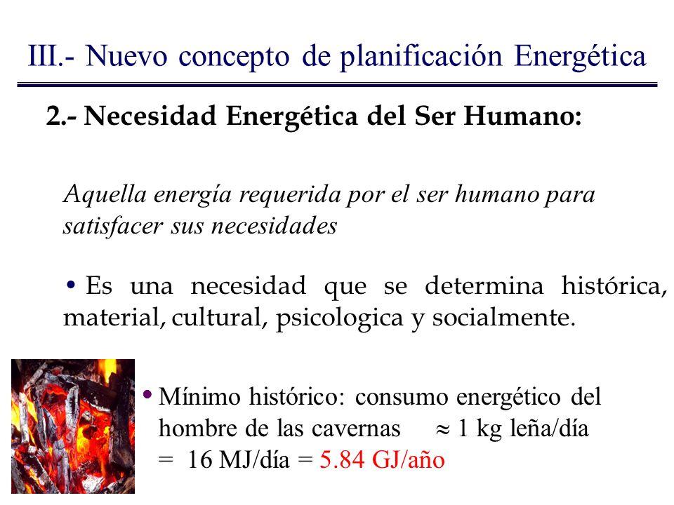 2.- Necesidad Energética del Ser Humano: A quella energía requerida por el ser humano para satisfacer sus necesidades Es una necesidad que se determin