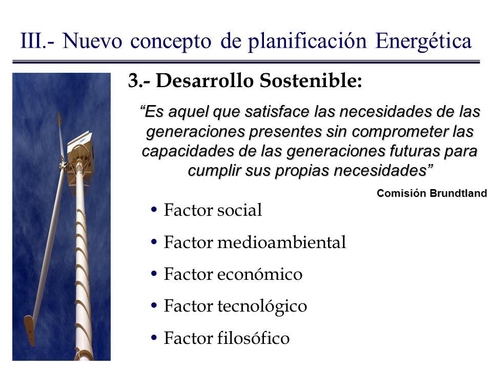 Factor social Factor medioambiental Factor económico Factor tecnológico Factor filosófico 3.- Desarrollo Sostenible: Es aquel que satisface las necesi