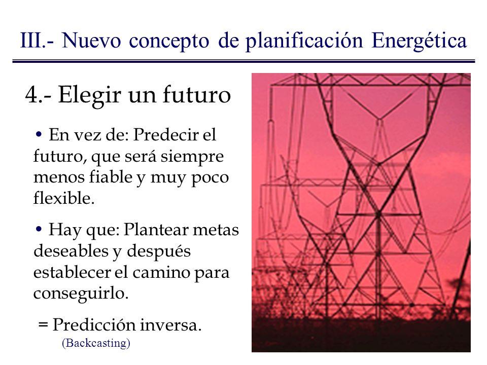 4.- Elegir un futuro En vez de: Predecir el futuro, que será siempre menos fiable y muy poco flexible. Hay que: Plantear metas deseables y después est
