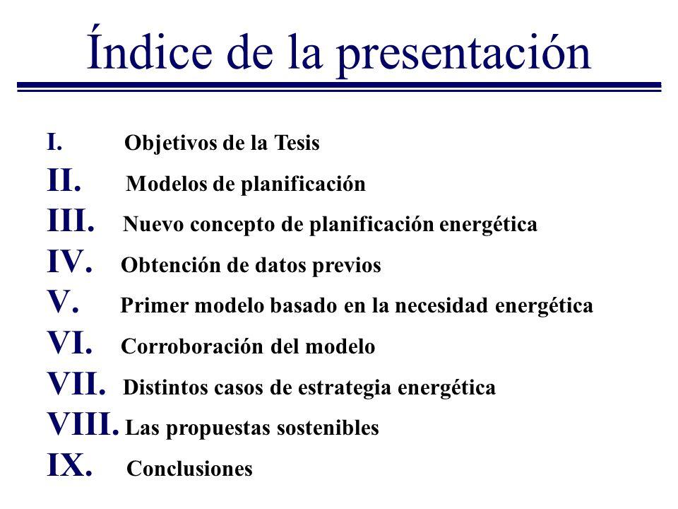 Índice de la presentación I. Objetivos de la Tesis II. Modelos de planificación III. Nuevo concepto de planificación energética IV. Obtención de datos