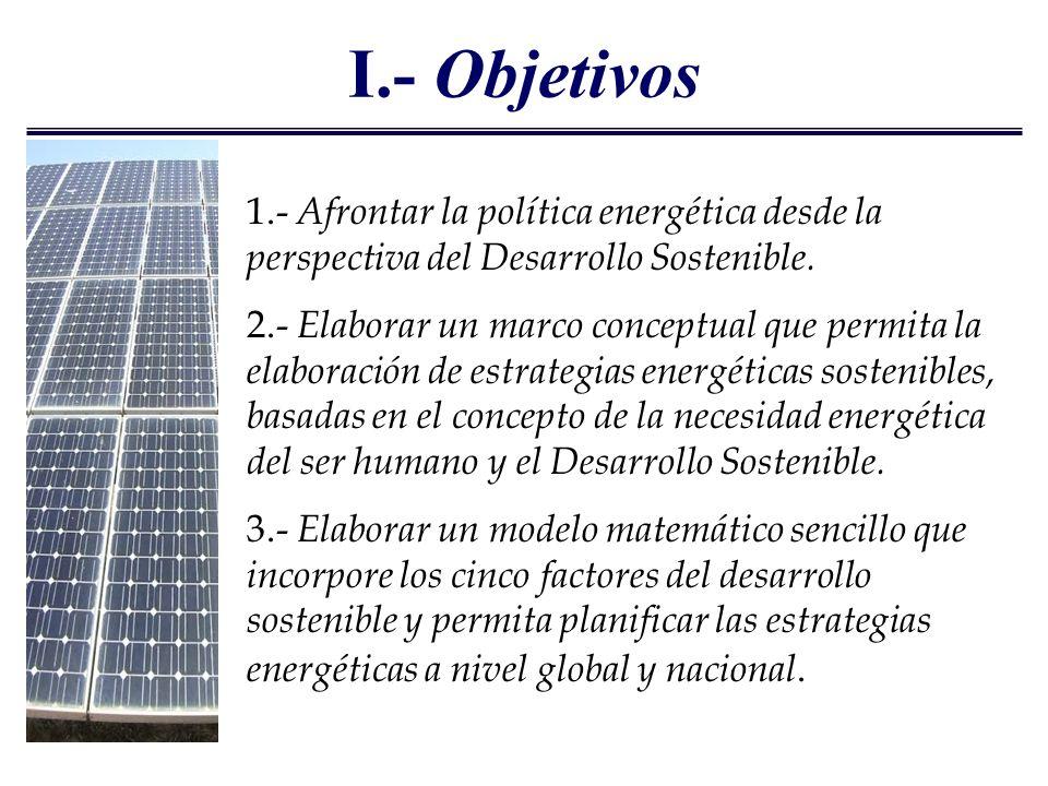 I.- Objetivos 1.- Afrontar la política energética desde la perspectiva del Desarrollo Sostenible. 2.- Elaborar un marco conceptual que permita la elab
