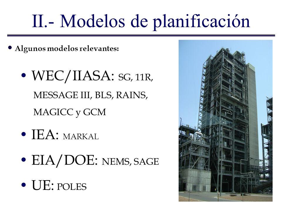 II.- Modelos de planificación Algunos modelos relevantes: WEC/IIASA: SG, 11R, MESSAGE III, BLS, RAINS, MAGICC y GCM IEA: MARKAL EIA/DOE: NEMS, SAGE UE