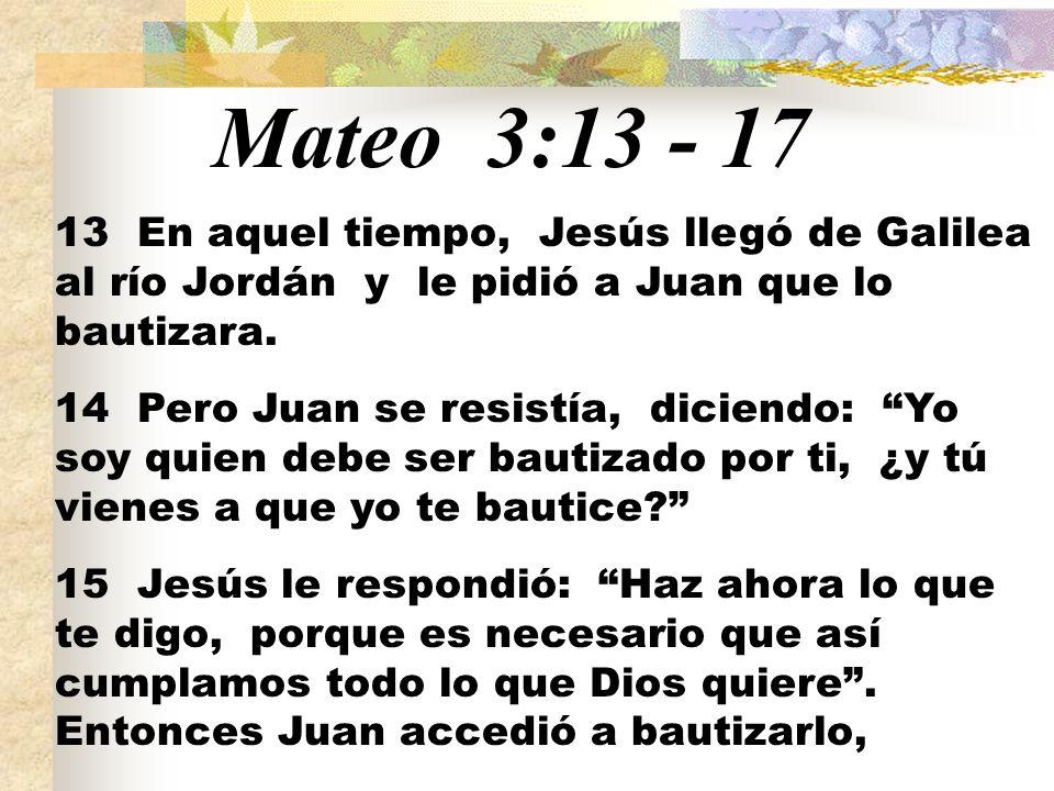 Mateo 3:13 - 17 13 En aquel tiempo, Jesús llegó de Galilea al río Jordán y le pidió a Juan que lo bautizara. 14 Pero Juan se resistía, diciendo: Yo so