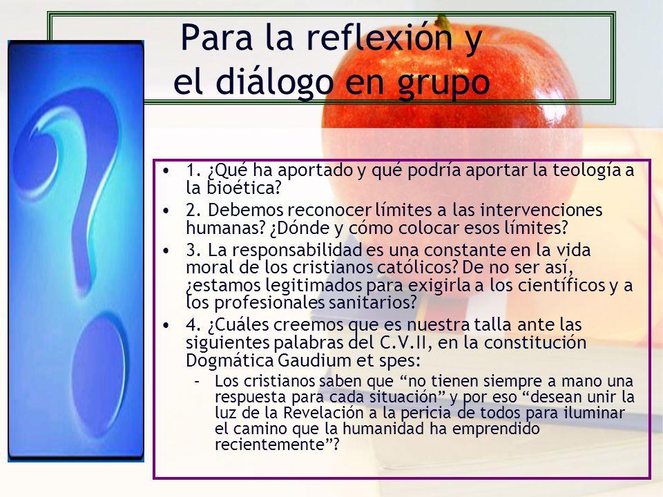 Para la reflexión y el diálogo en grupo 1.