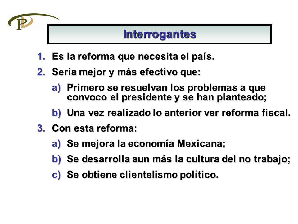 1.Es la reforma que necesita el país. 2.Seria mejor y más efectivo que: a)Primero se resuelvan los problemas a que convoco el presidente y se han plan