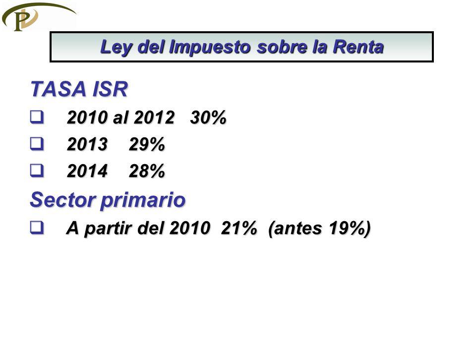 TASA ISR 2010 al 2012 30% 2010 al 2012 30% 2013 29% 2013 29% 2014 28% 2014 28% Sector primario A partir del 2010 21% (antes 19%) A partir del 2010 21% (antes 19%) Ley del Impuesto sobre la Renta