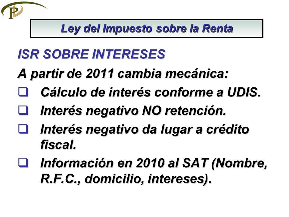 ISR SOBRE INTERESES A partir de 2011 cambia mecánica: Cálculo de interés conforme a UDIS. Cálculo de interés conforme a UDIS. Interés negativo NO rete