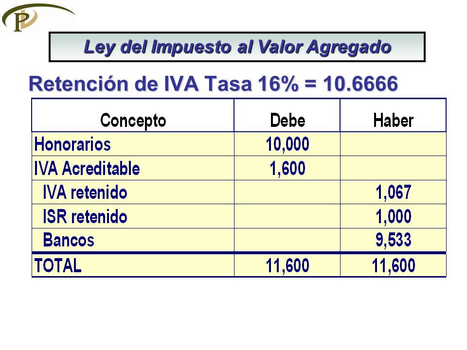 Retención de IVA Tasa 16% = 10.6666