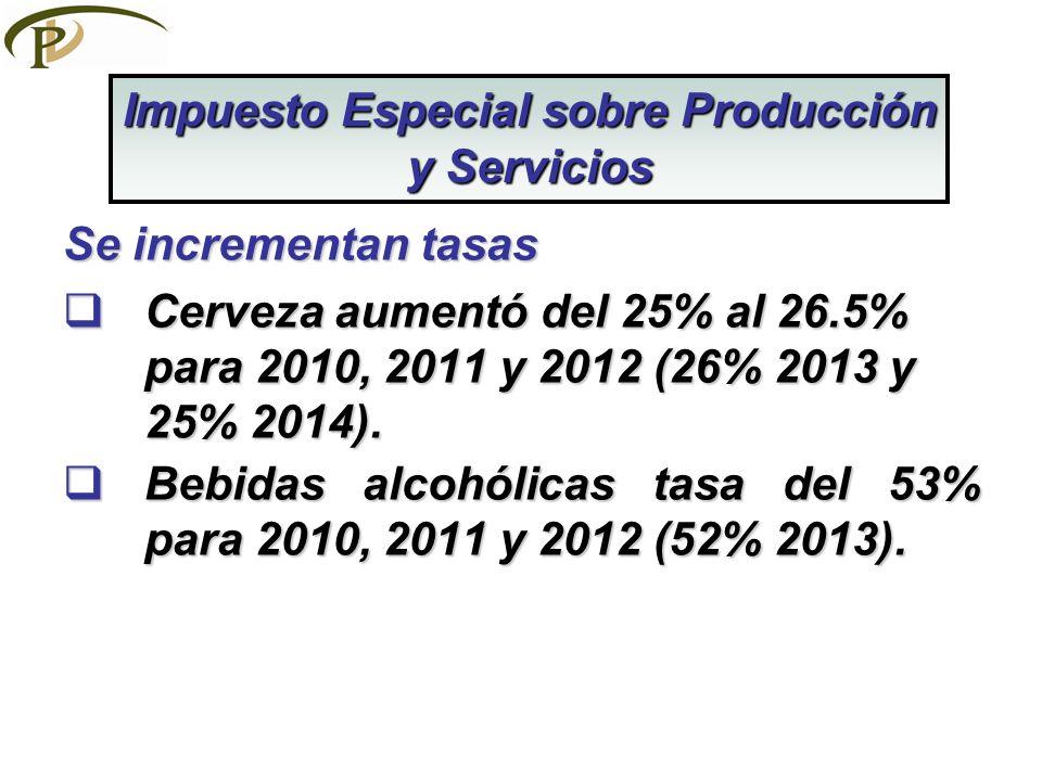Se incrementan tasas Cerveza aumentó del 25% al 26.5% para 2010, 2011 y 2012 (26% 2013 y 25% 2014). Cerveza aumentó del 25% al 26.5% para 2010, 2011 y