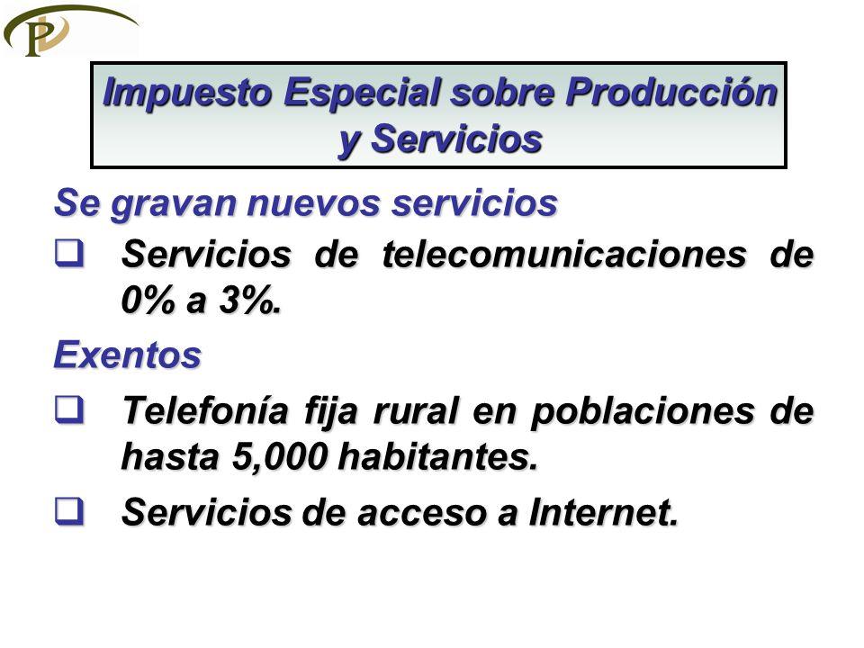 Se gravan nuevos servicios Servicios de telecomunicaciones de 0% a 3%. Servicios de telecomunicaciones de 0% a 3%.Exentos Telefonía fija rural en pobl