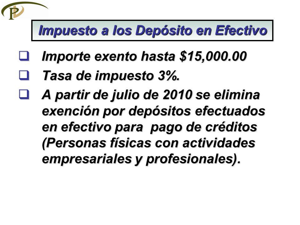 Importe exento hasta $15,000.00 Importe exento hasta $15,000.00 Tasa de impuesto 3%. Tasa de impuesto 3%. A partir de julio de 2010 se elimina exenció