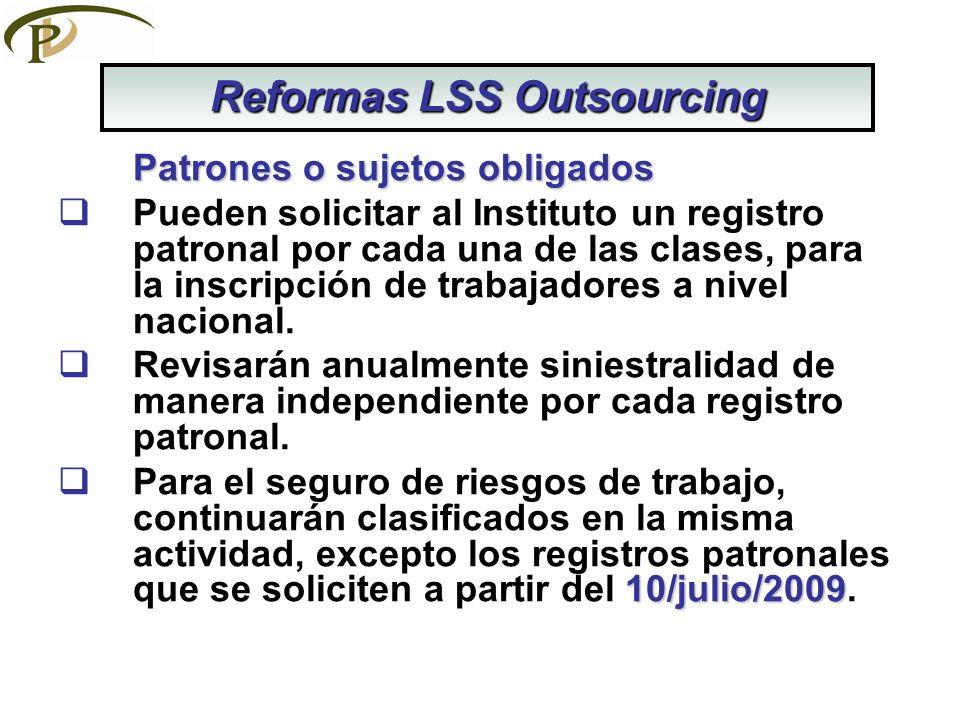 Patrones o sujetos obligados Pueden solicitar al Instituto un registro patronal por cada una de las clases, para la inscripción de trabajadores a nive