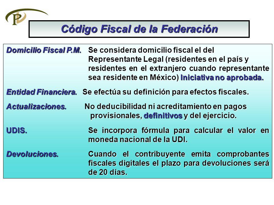 Código Fiscal de la Federación Domicilio Fiscal P.M. Se considera domicilio fiscal el del Representante Legal (residentes en el país y residentes en e
