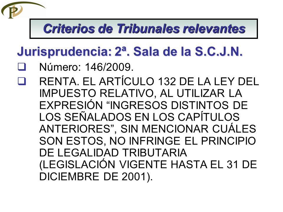 Jurisprudencia: 2ª.Sala de la S.C.J.N. Número: 146/2009.