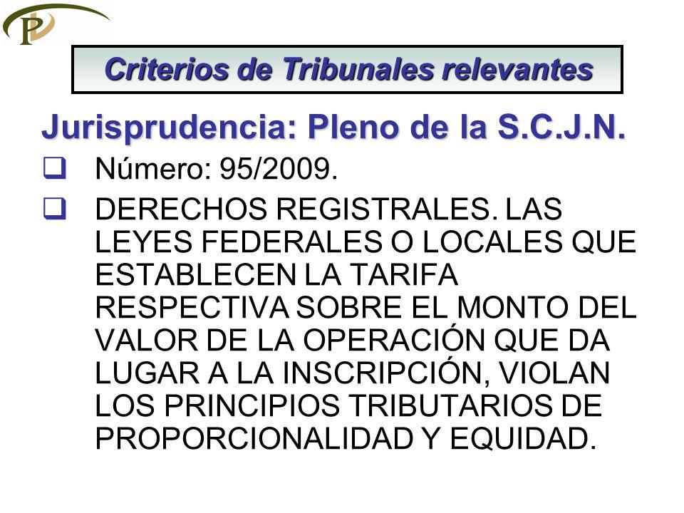 Jurisprudencia: Pleno de la S.C.J.N. Número: 95/2009. DERECHOS REGISTRALES. LAS LEYES FEDERALES O LOCALES QUE ESTABLECEN LA TARIFA RESPECTIVA SOBRE EL