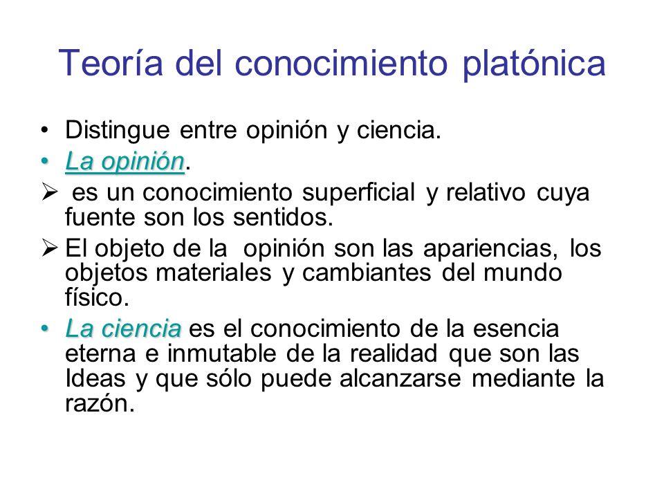 Teoría del conocimiento platónica Distingue entre opinión y ciencia. La opiniónLa opinión. es un conocimiento superficial y relativo cuya fuente son l