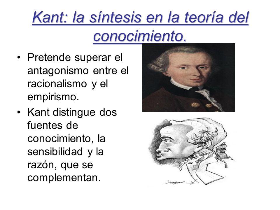 Kant: la síntesis en la teoría del conocimiento. Pretende superar el antagonismo entre el racionalismo y el empirismo. Kant distingue dos fuentes de c