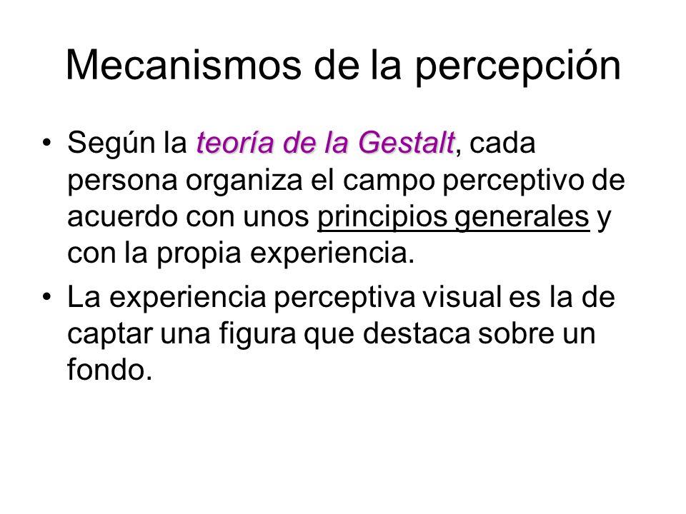 Mecanismos de la percepción teoría de la GestaltSegún la teoría de la Gestalt, cada persona organiza el campo perceptivo de acuerdo con unos principio