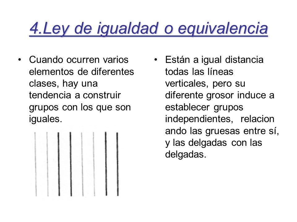 4.Ley de igualdad o equivalencia Cuando ocurren varios elementos de diferentes clases, hay una tendencia a construir grupos con los que son iguales. E