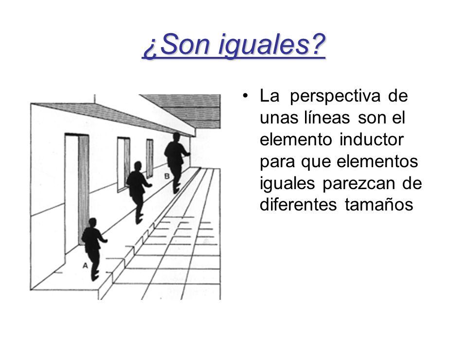 ¿Son iguales? La perspectiva de unas líneas son el elemento inductor para que elementos iguales parezcan de diferentes tamaños