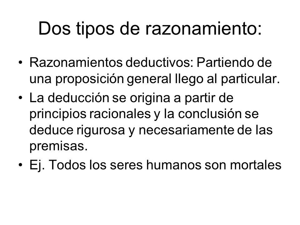 Dos tipos de razonamiento: Razonamientos deductivos: Partiendo de una proposición general llego al particular. La deducción se origina a partir de pri