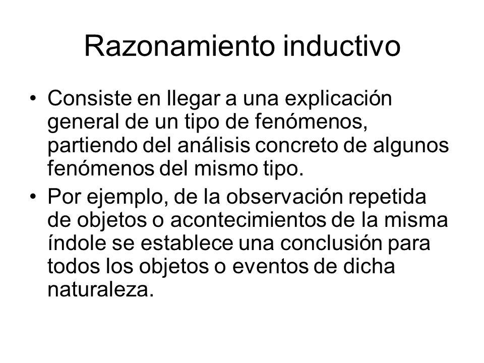 Razonamiento inductivo Consiste en llegar a una explicación general de un tipo de fenómenos, partiendo del análisis concreto de algunos fenómenos del