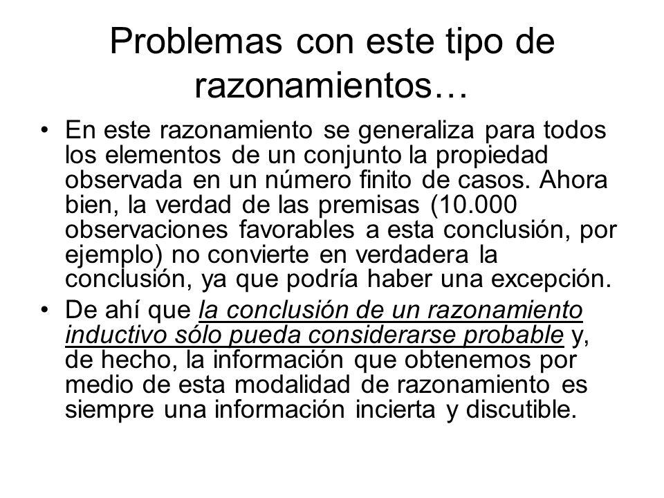 Problemas con este tipo de razonamientos… En este razonamiento se generaliza para todos los elementos de un conjunto la propiedad observada en un núme