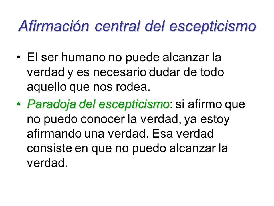 Afirmación central del escepticismo El ser humano no puede alcanzar la verdad y es necesario dudar de todo aquello que nos rodea. Paradoja del escepti